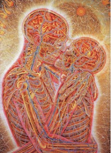 Kissing - painting by Alex Grey